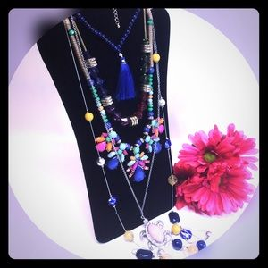 Jewelry - Boho hippie statement bright colors necklace Lot